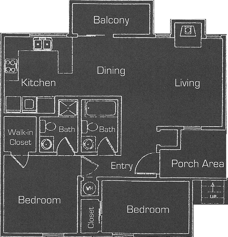 Two Bedroom / Two Bath - 900 Sq.Ft.*